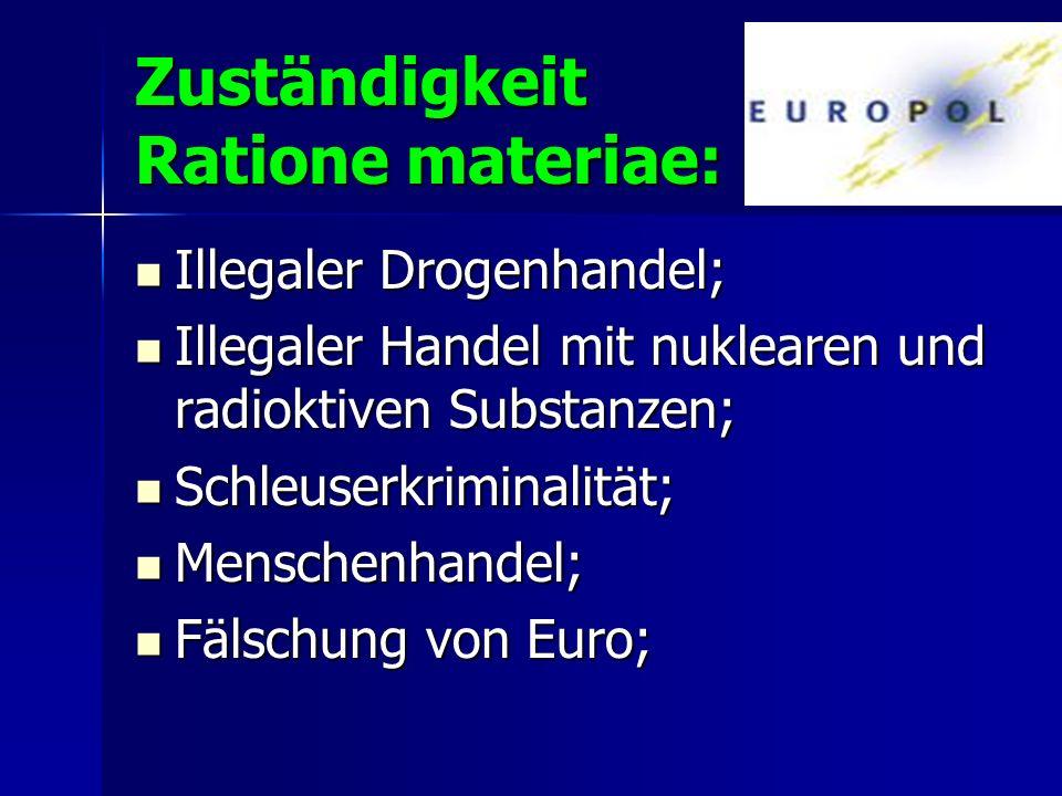 Zuständigkeit Ratione materiae: Illegaler Drogenhandel; Illegaler Drogenhandel; Illegaler Handel mit nuklearen und radioktiven Substanzen; Illegaler H