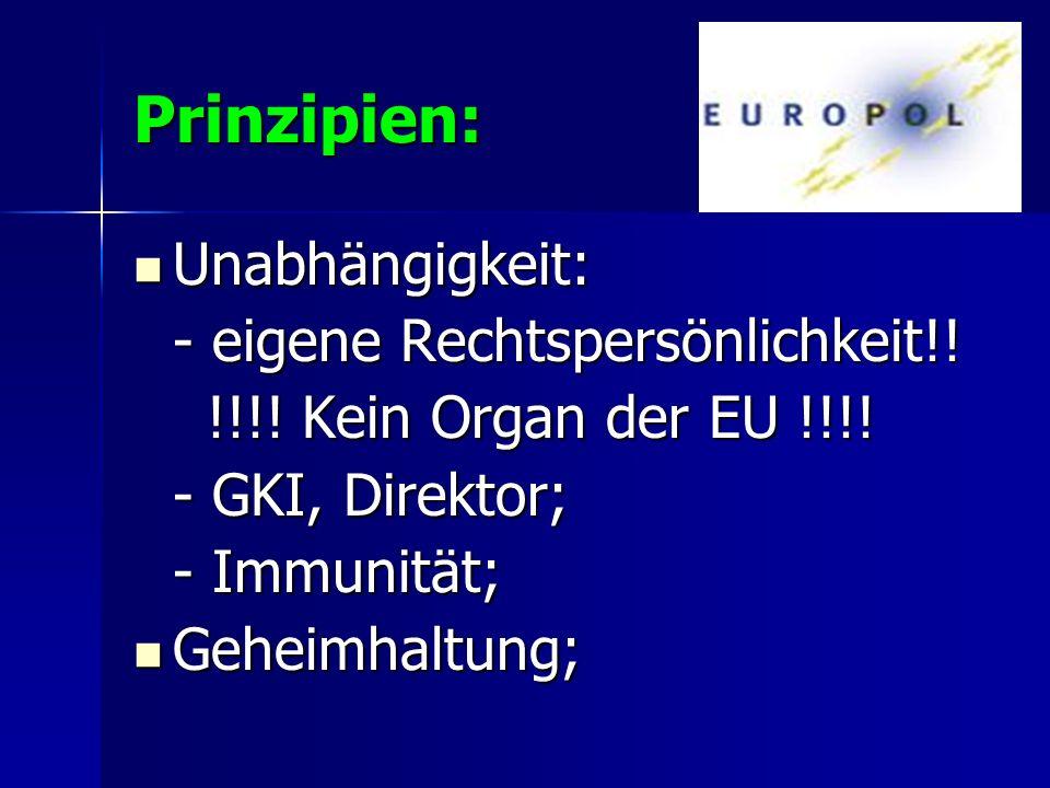 Prinzipien: Unabhängigkeit: Unabhängigkeit: - eigene Rechtspersönlichkeit!! !!!! Kein Organ der EU !!!! !!!! Kein Organ der EU !!!! - GKI, Direktor; -