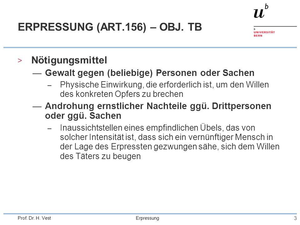 Erpressung 3 Prof. Dr. H. Vest ERPRESSUNG (ART.156) – OBJ. TB > Nötigungsmittel Gewalt gegen (beliebige) Personen oder Sachen – Physische Einwirkung,