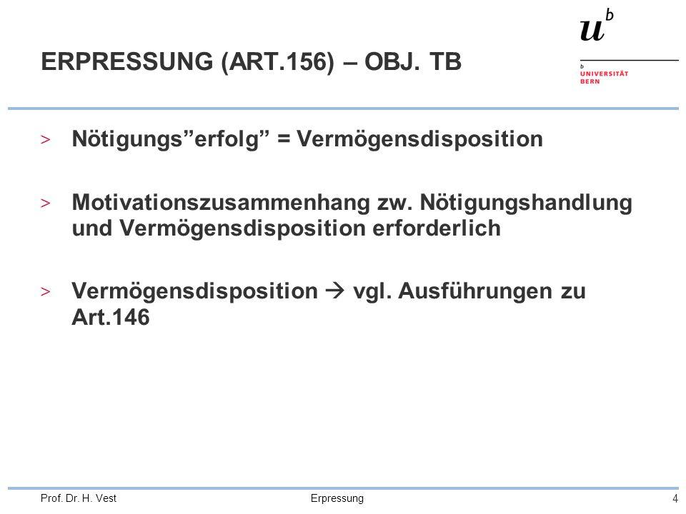 Erpressung 4 Prof. Dr. H. Vest ERPRESSUNG (ART.156) – OBJ. TB > Nötigungserfolg = Vermögensdisposition > Motivationszusammenhang zw. Nötigungshandlung