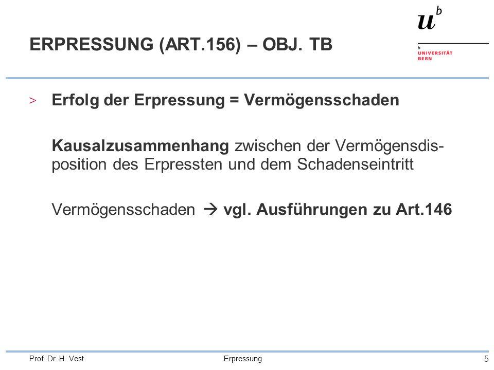 Erpressung 6 Prof.Dr. H. Vest ERPRESSUNG (ART.156) – OBJ.