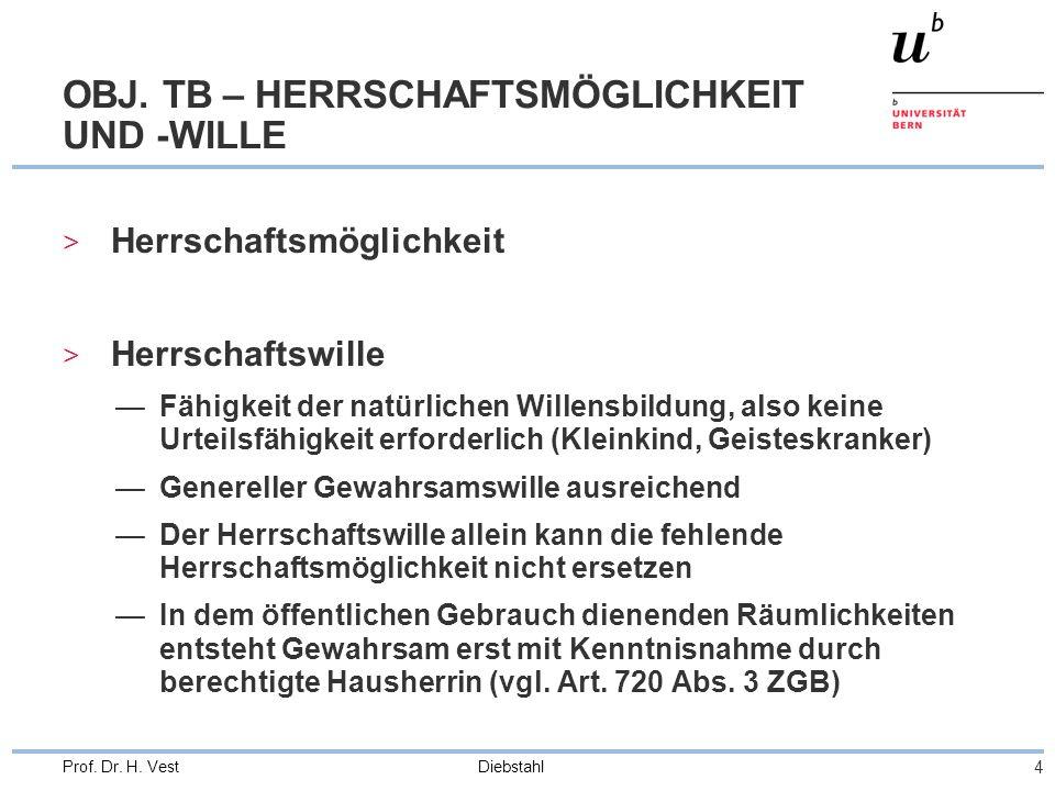 Diebstahl 4 Prof. Dr. H. Vest OBJ. TB – HERRSCHAFTSMÖGLICHKEIT UND -WILLE > Herrschaftsmöglichkeit > Herrschaftswille Fähigkeit der natürlichen Willen