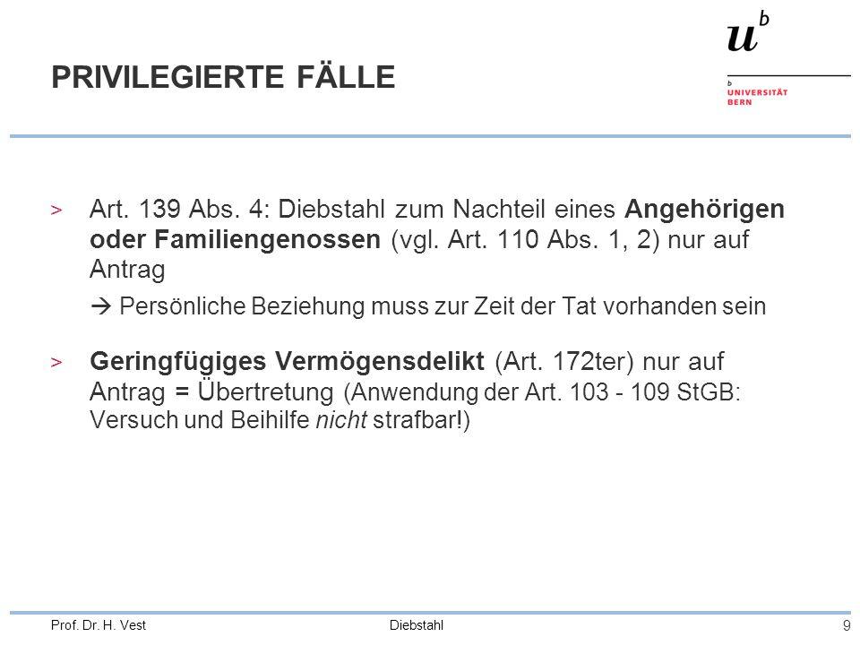 Diebstahl 9 Prof.Dr. H. Vest PRIVILEGIERTE FÄLLE > Art.