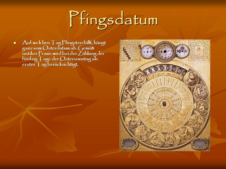 Pfingsdatum Auf welchen Tag Pfingsten fällt, hängt ganz vom Osterdatum ab. Gemäß antiker Praxis wird bei der Zählung der fünfzig Tage der Ostersonntag