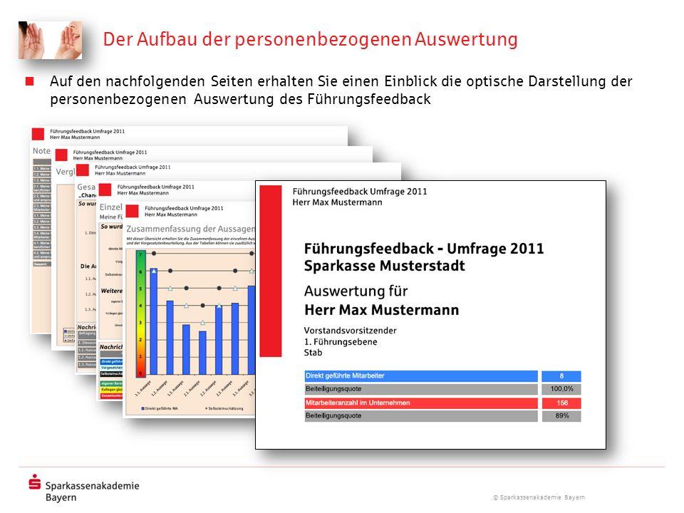 © Sparkassenakademie Bayern Der Aufbau der personenbezogenen Auswertung Auf den nachfolgenden Seiten erhalten Sie einen Einblick die optische Darstell