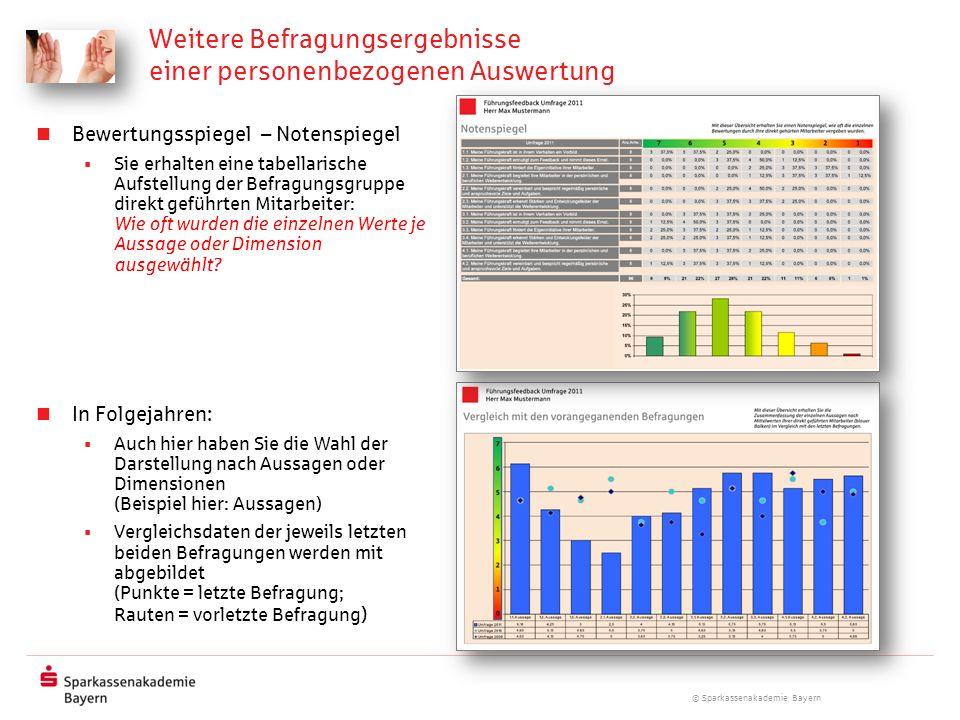 © Sparkassenakademie Bayern Weitere Befragungsergebnisse einer personenbezogenen Auswertung Bewertungsspiegel – Notenspiegel Sie erhalten eine tabella