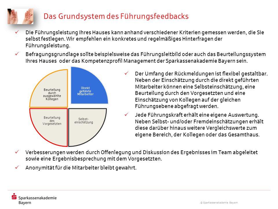 © Sparkassenakademie Bayern Das Grundsystem des Führungsfeedbacks Die Führungsleistung Ihres Hauses kann anhand verschiedener Kriterien gemessen werde