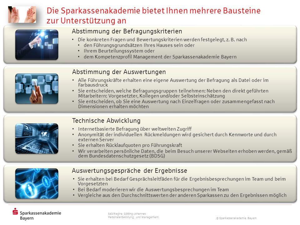 © Sparkassenakademie Bayern Abstimmung der Befragungskriterien Die konkreten Fragen und Bewertungskriterien werden festgelegt, z. B. nach den Führungs