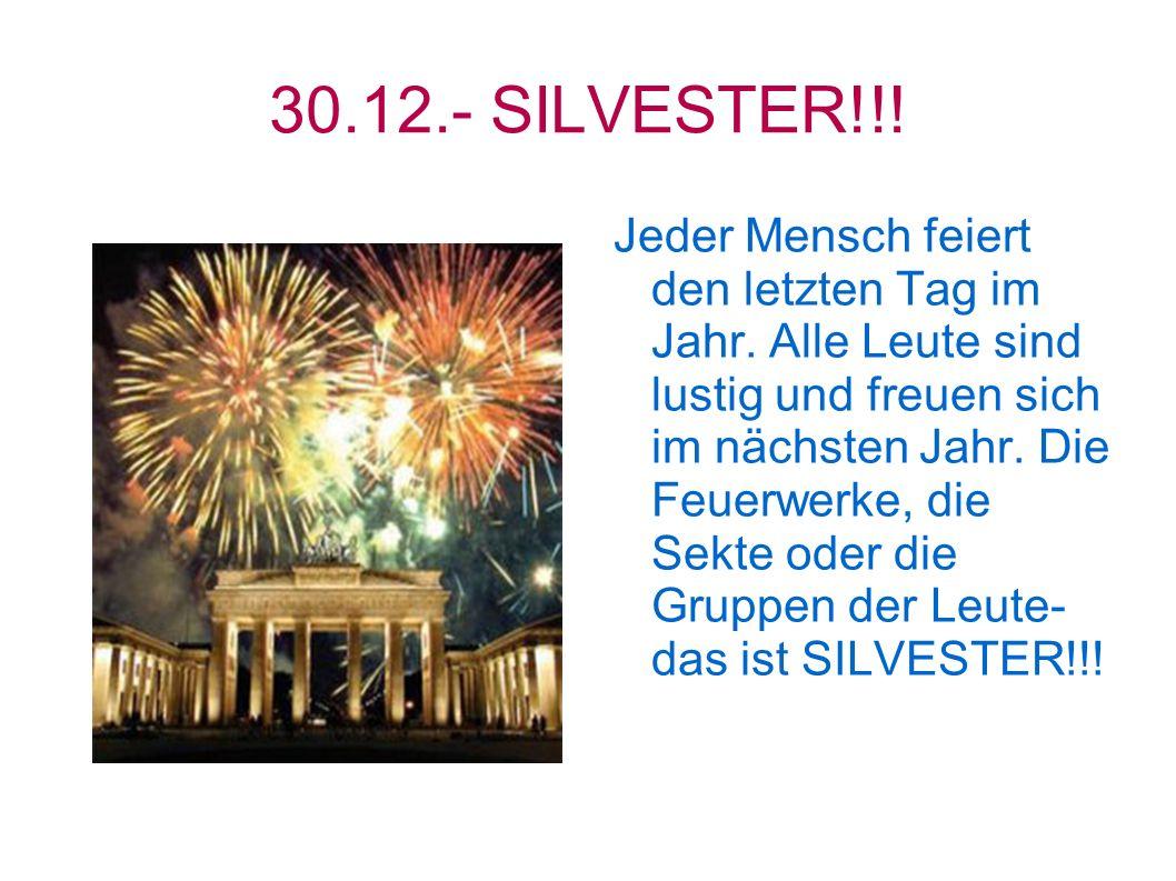 30.12.- SILVESTER!!! Jeder Mensch feiert den letzten Tag im Jahr. Alle Leute sind lustig und freuen sich im nächsten Jahr. Die Feuerwerke, die Sekte o