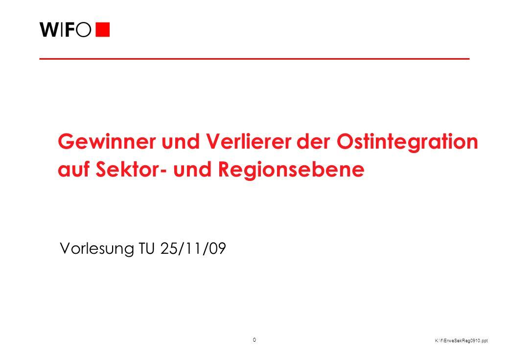 0 K:\f\ErweSekReg0910.ppt Vorlesung TU 25/11/09 Gewinner und Verlierer der Ostintegration auf Sektor- und Regionsebene