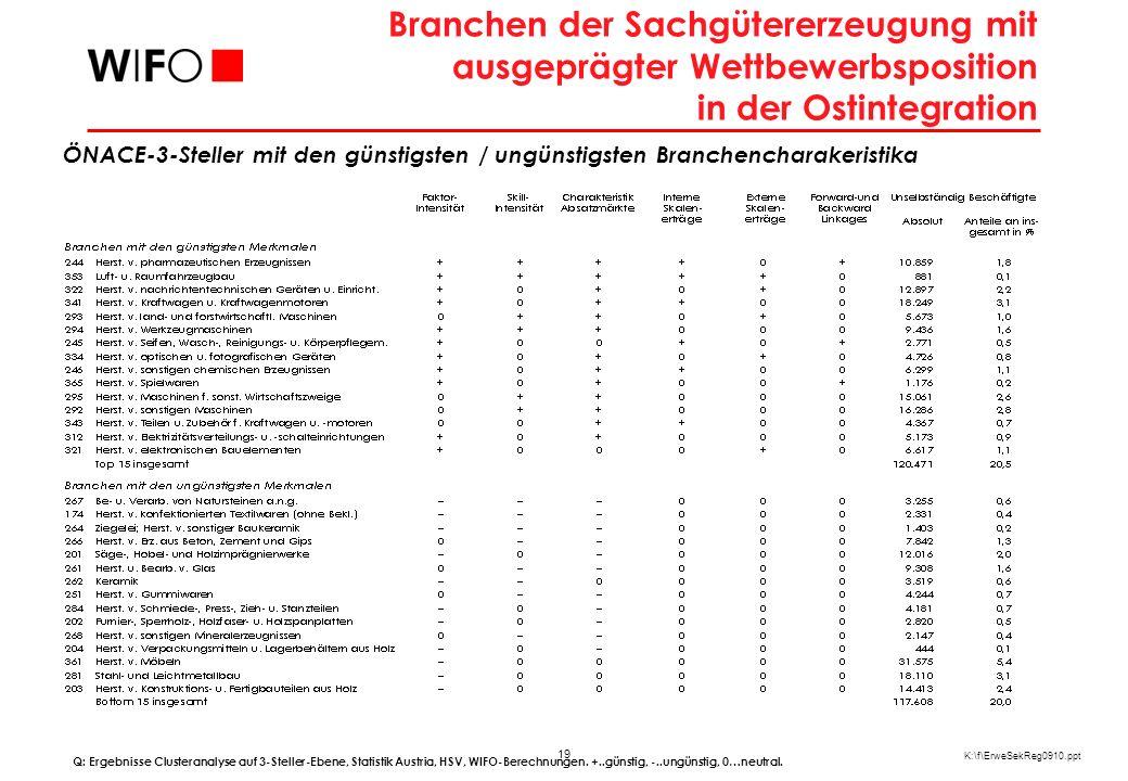 19 K:\f\ErweSekReg0910.ppt Branchen der Sachgütererzeugung mit ausgeprägter Wettbewerbsposition in der Ostintegration Q: Ergebnisse Clusteranalyse auf 3-Steller-Ebene, Statistik Austria, HSV, WIFO-Berechnungen.
