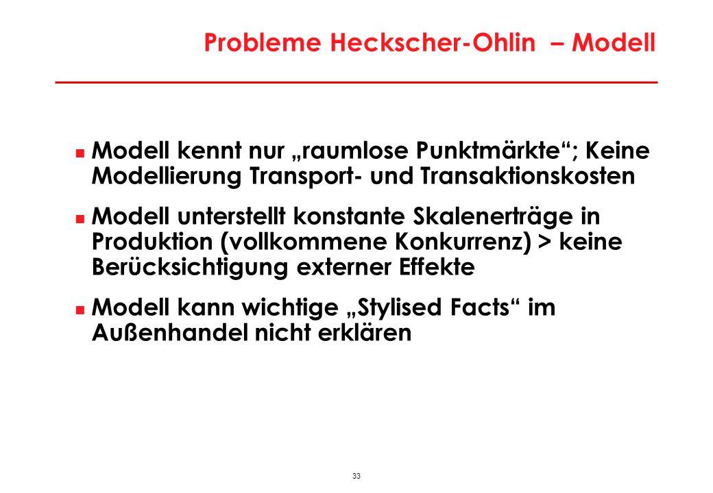 33 Probleme Heckscher-Ohlin – Modell Modell kennt nur raumlose Punktmärkte; Keine Modellierung Transport- und Transaktionskosten Modell unterstellt konstante Skalenerträge in Produktion (vollkommene Konkurrenz) > keine Berücksichtigung externer Effekte Modell kann wichtige Stylised Facts im Außenhandel nicht erklären