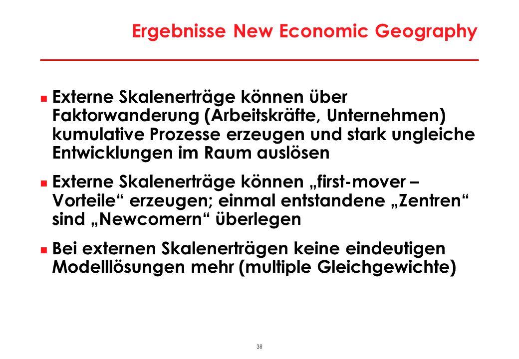 38 Ergebnisse New Economic Geography Externe Skalenerträge können über Faktorwanderung (Arbeitskräfte, Unternehmen) kumulative Prozesse erzeugen und s