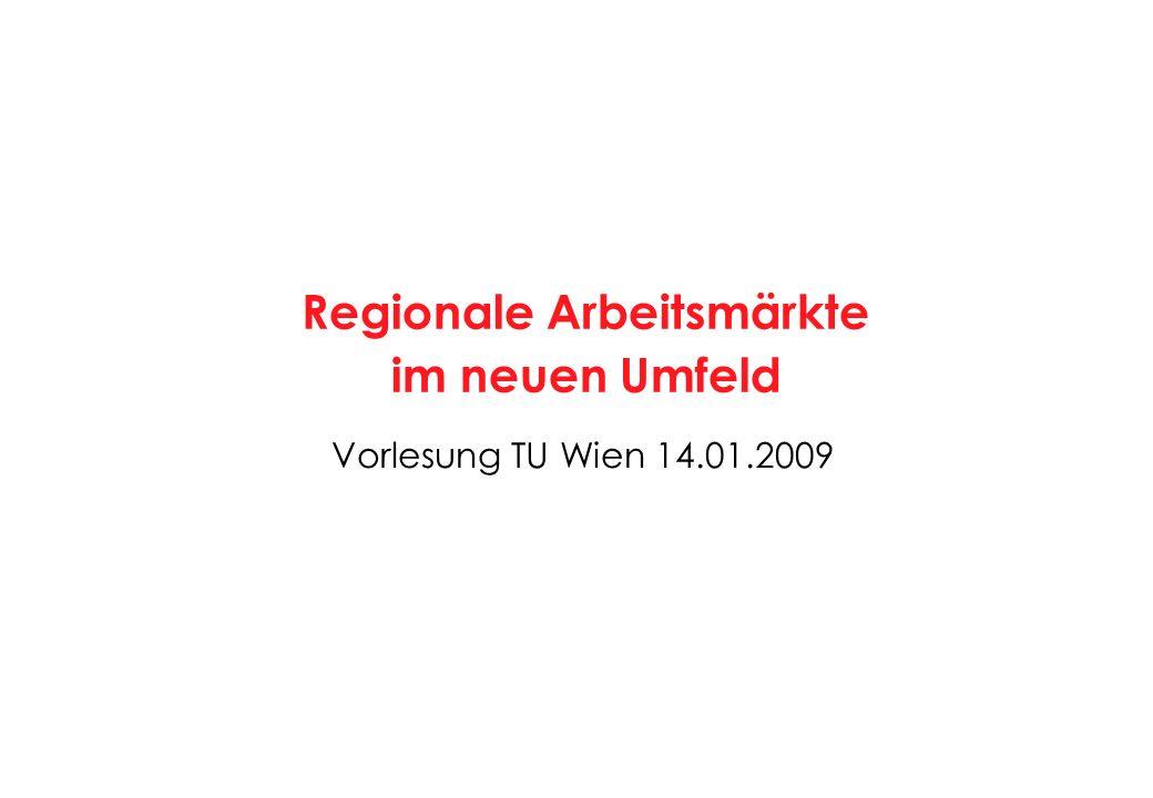 Vorlesung TU Wien 14.01.2009 Regionale Arbeitsmärkte im neuen Umfeld