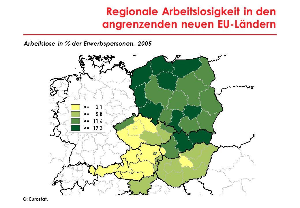 16 Regionale Arbeitslosigkeit in den angrenzenden neuen EU-Ländern Q: Eurostat. Arbeitslose in % der Erwerbspersonen, 2005