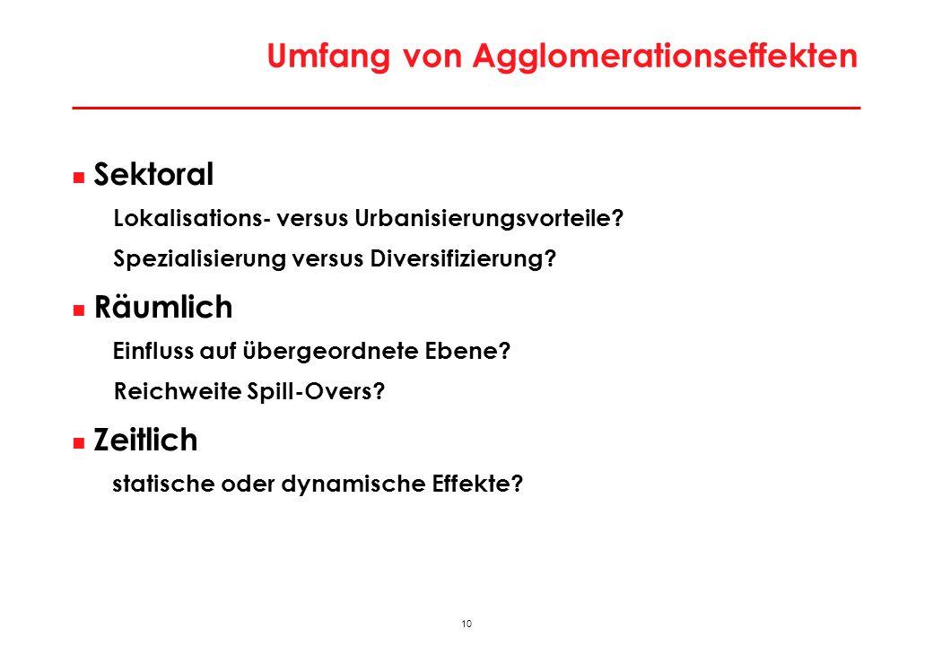 10 Umfang von Agglomerationseffekten Sektoral Lokalisations- versus Urbanisierungsvorteile? Spezialisierung versus Diversifizierung? Räumlich Einfluss
