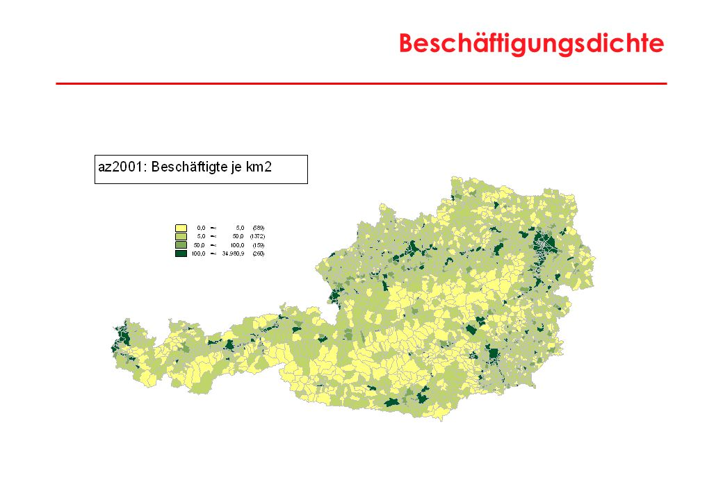 34 Charakteristika Intensive Tourismusregionen Liezen, Klagenfurt-Land, Spittal/Drau, Villach-Land, St.Johann/Pongau, Zell/See, Imst, Kitzbühel, Landeck, Reutte Werte 2001Bezirke RegionstypÖsterreich = 100 Einwohner Ø63.32778 Bevölkerungsdichte40,217 Erwerbstätige Ø23.19264 Wirtschaftsstruktur (Anteil ErwT %) Agrarsektor5,2126 Produktionssektor28,9105 Industrie16,388 davon technologieorientiert18,774 Dienstleistungssektor65,997 Handel, Verkehr, Nachrichten14,887 Tourismus15,5268 Unternehmensdienste4,550 Öffentliche, pers., soz.