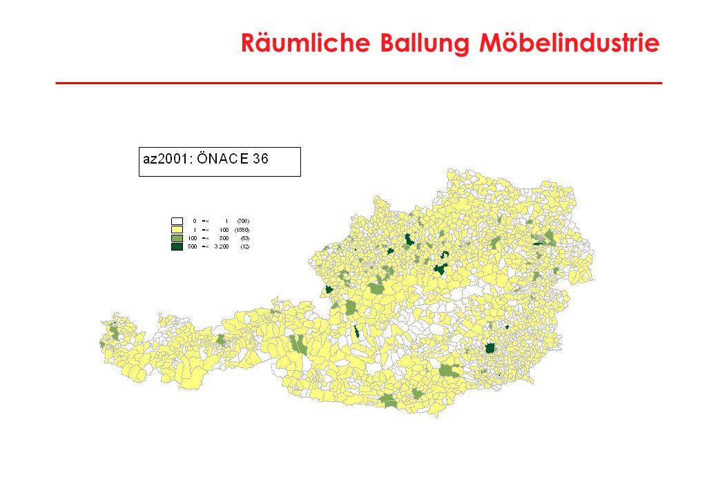 35 Wirtschaftsregionen: Extensive Industrieregionen Gmünd, Lilienfeld, Melk, Wiener Neustadt-Land, Mattersburg, Deutschlandsberg, Knittelfeld, Leibnitz, Voitsdorf, Weiz, St.Veit/Glan, Wolfsberg, Braunau, Grieskirchen, Perg, Ried, Steyr-Land