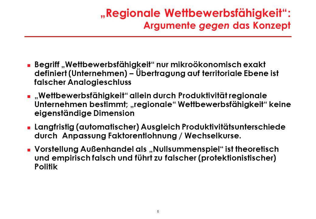 46 Besonderheiten der Wiener Stadtwirtschaft Besondere Lage an ökonomischer Bruchlinie Europas > Enormes Lohnkostendifferenzial auf kurze Distanz > Modernisierungs- und Rationalisierungsdruck; Strukturpeitsche Massiver Strukturwandel Stadtwirtschaft in Bewegung > hohe Gründungs- und Stilllegungsraten; jedes Jahr werden 50.000-70.000 Arbeitsplätze neu geschaffen und ähnlich viele wieder vernichtet > Strukturwandel verläuft in Wien seit Anfang 1990er Jahre um die Hälfte rascher als im Durchschnitt der Städte > Massive Tertiärisierung; Strukturwandel zu technologie- und qualifikationsintensiven Aktivitäten Geringe Exportorientierung > traditionelle Exportaktivitäten stagnieren wegen Tertiärisierung; Exporte in DL- Bereichen noch ausbaufähig Keine großen Leitsektoren als Ansatzpunkte für Clusterpolitik > diversifizierte Wirtschaftsstruktur (ähnlich Berlin)