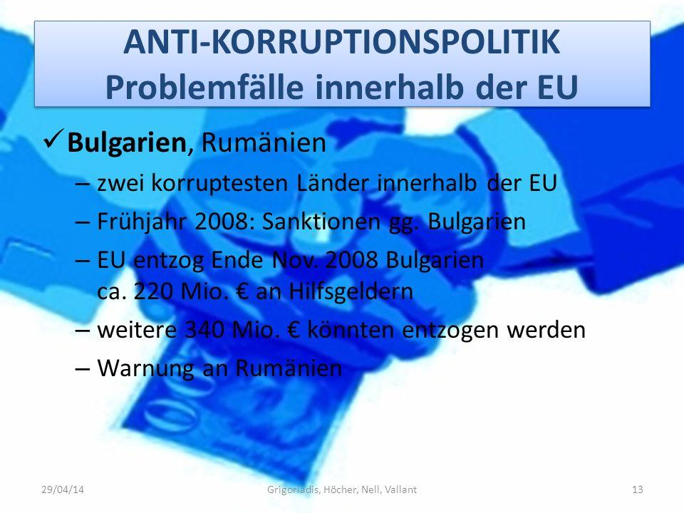 ANTI-KORRUPTIONSPOLITIK Problemfälle innerhalb der EU Bulgarien, Rumänien – zwei korruptesten Länder innerhalb der EU – Frühjahr 2008: Sanktionen gg.