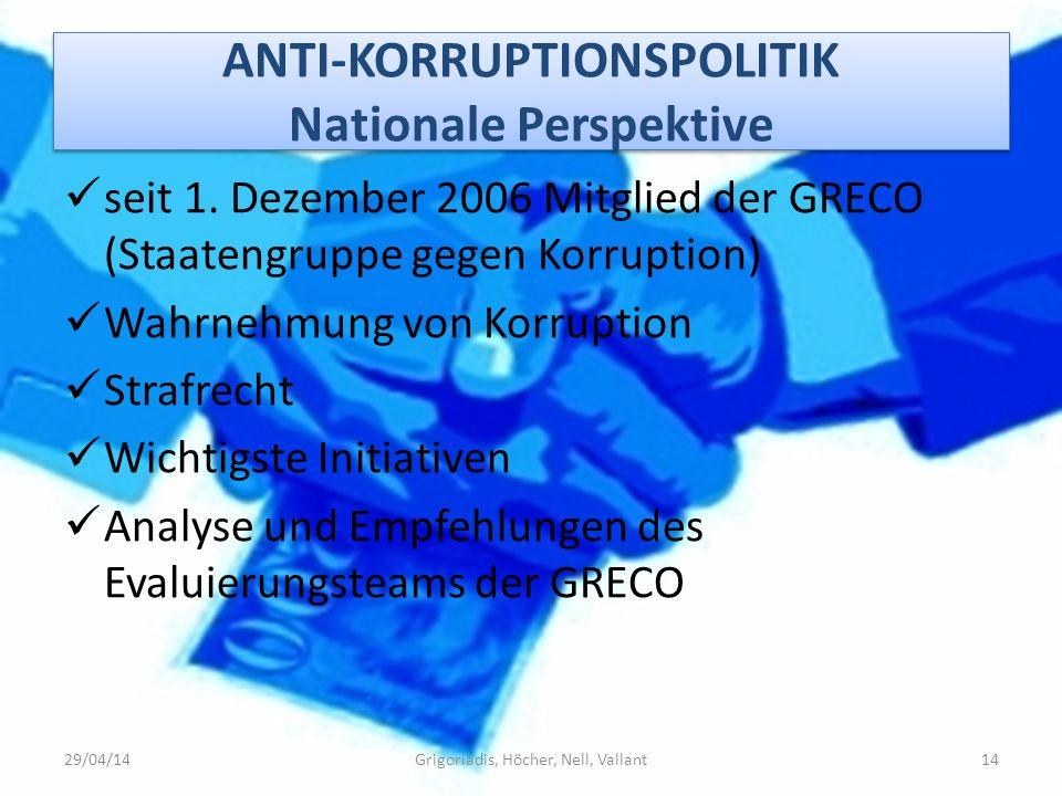 ANTI-KORRUPTIONSPOLITIK Nationale Perspektive seit 1. Dezember 2006 Mitglied der GRECO (Staatengruppe gegen Korruption) Wahrnehmung von Korruption Str