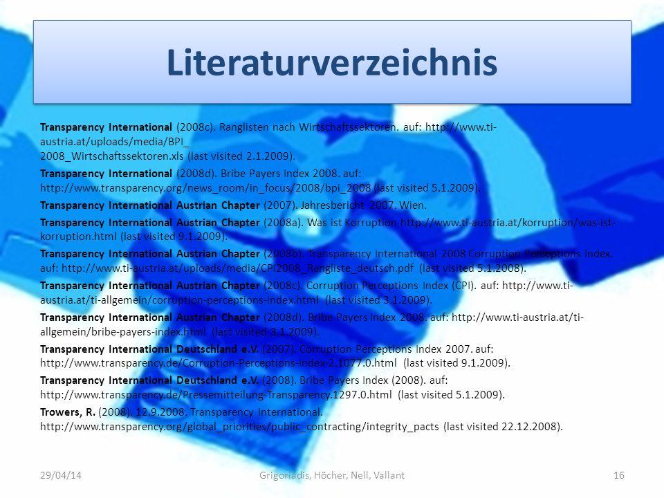 Literaturverzeichnis Transparency International (2008c). Ranglisten nach Wirtschaftssektoren. auf: http://www.ti- austria.at/uploads/media/BPI_ 2008_W