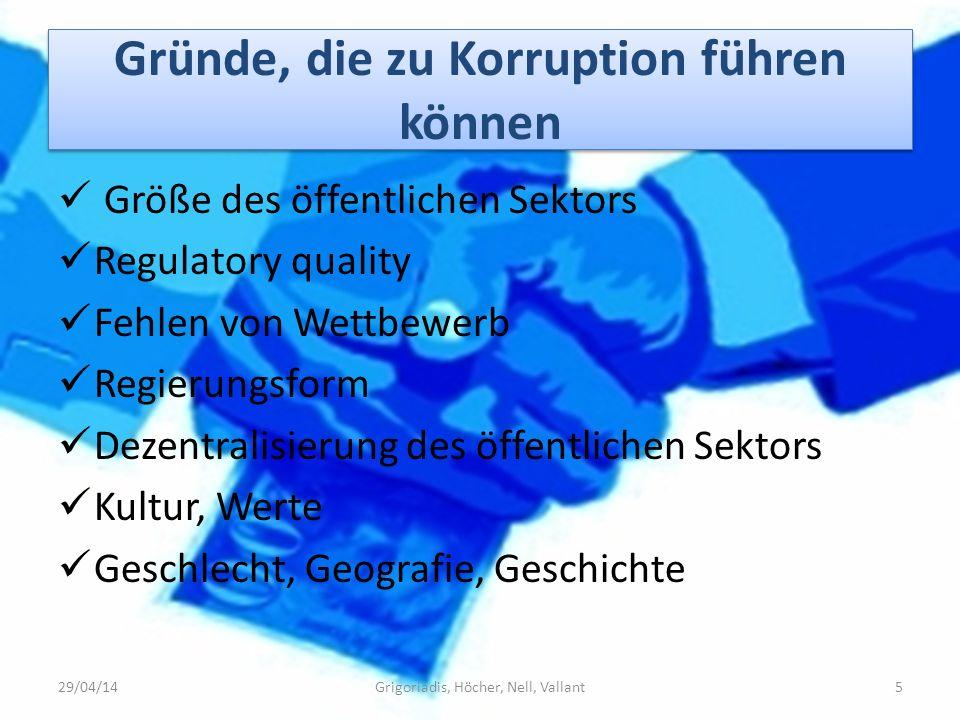 Gründe, die zu Korruption führen können Größe des öffentlichen Sektors Regulatory quality Fehlen von Wettbewerb Regierungsform Dezentralisierung des ö