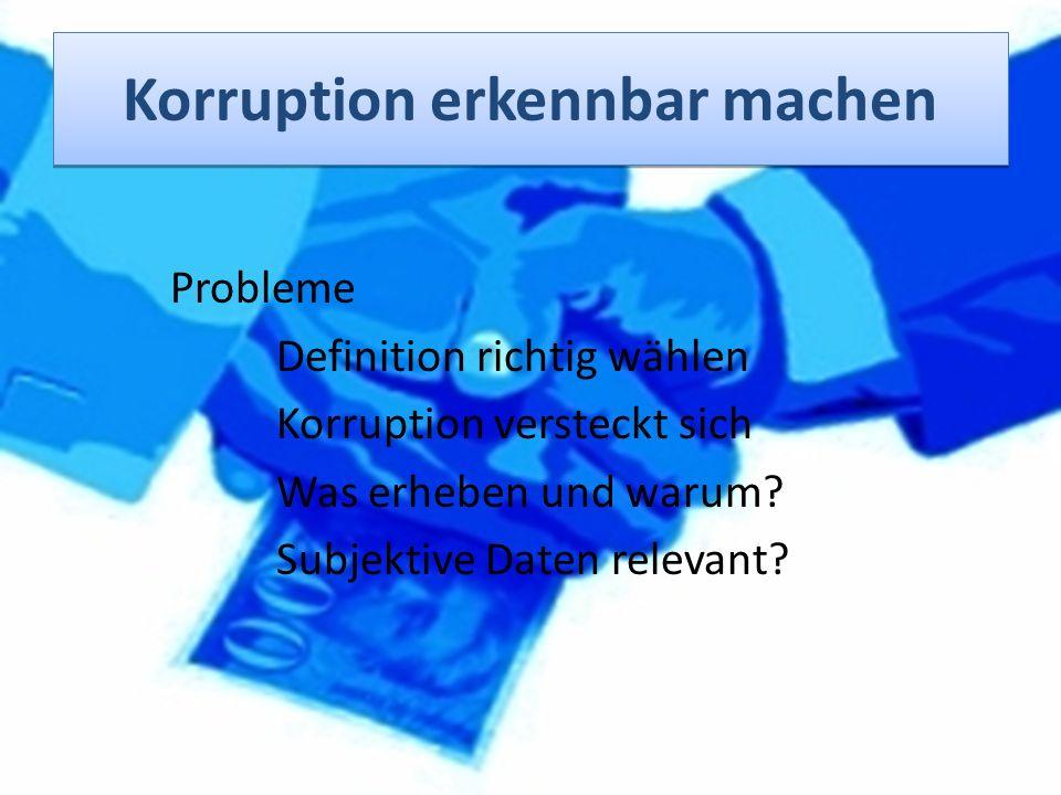 Probleme Definition richtig wählen Korruption versteckt sich Was erheben und warum? Subjektive Daten relevant?