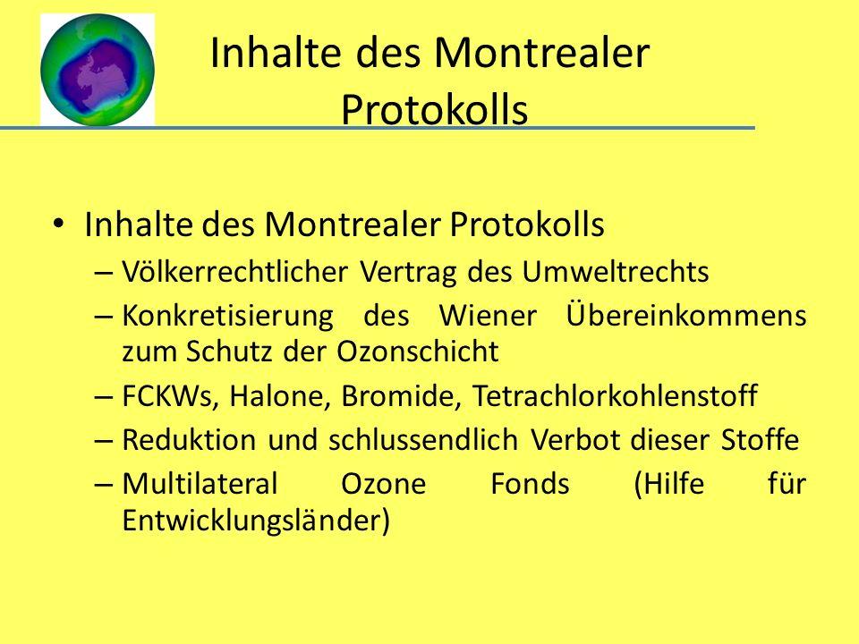 Inhalte des Montrealer Protokolls – Völkerrechtlicher Vertrag des Umweltrechts – Konkretisierung des Wiener Übereinkommens zum Schutz der Ozonschicht