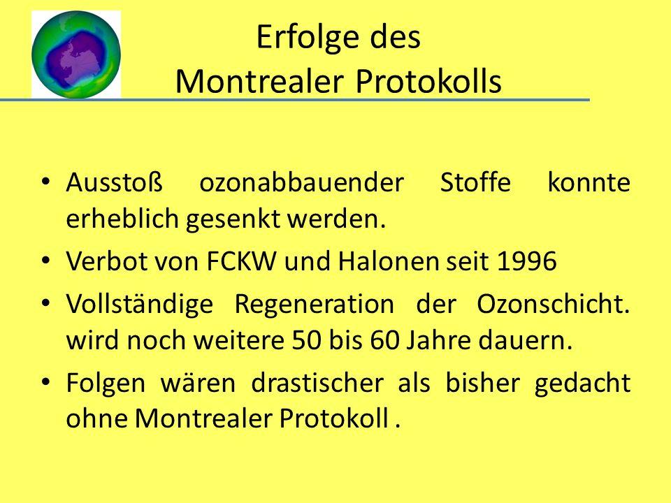 Erfolge des Montrealer Protokolls Ausstoß ozonabbauender Stoffe konnte erheblich gesenkt werden. Verbot von FCKW und Halonen seit 1996 Vollständige Re