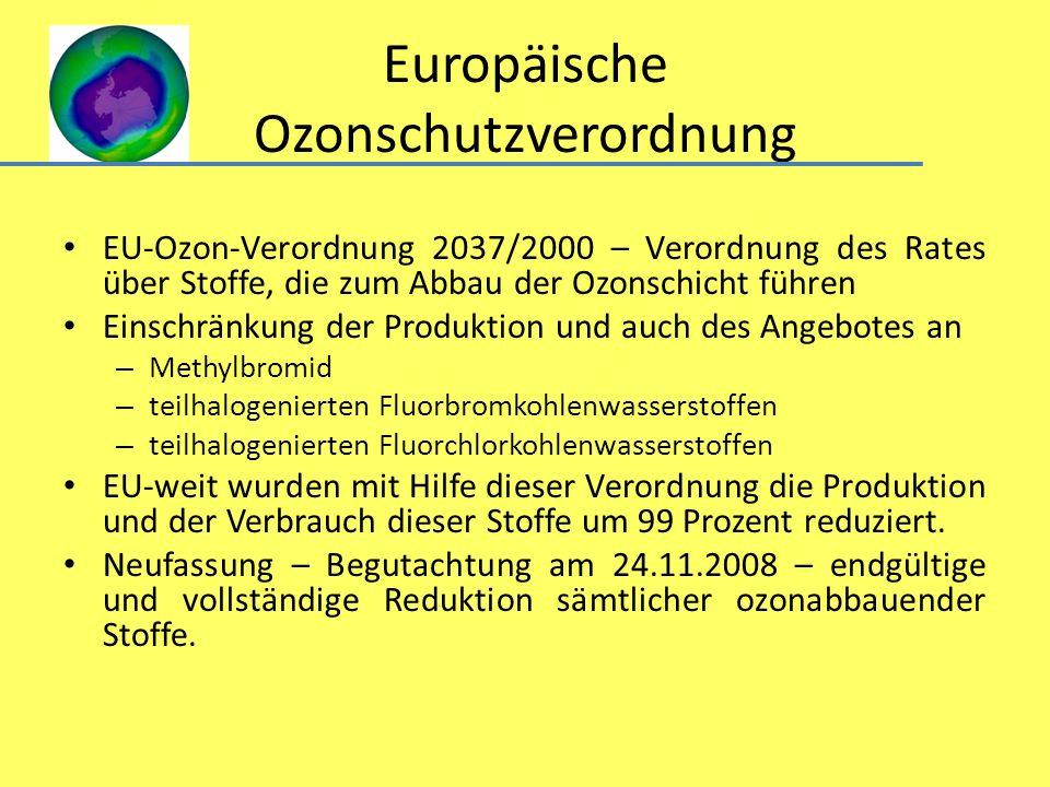Europäische Ozonschutzverordnung EU-Ozon-Verordnung 2037/2000 – Verordnung des Rates über Stoffe, die zum Abbau der Ozonschicht führen Einschränkung d