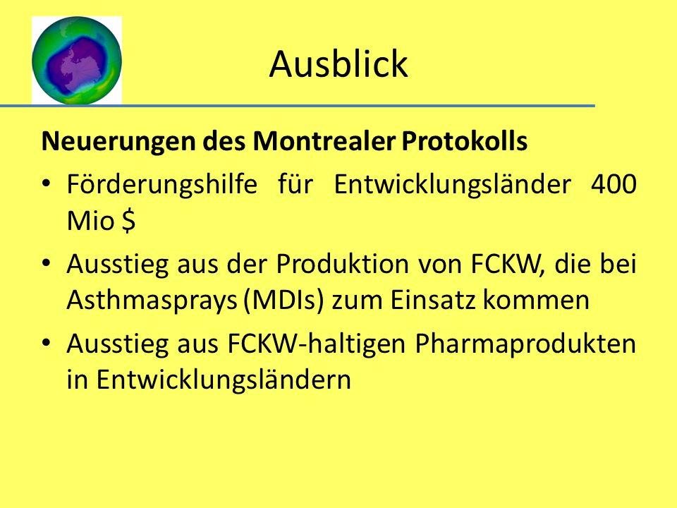 Ausblick Neuerungen des Montrealer Protokolls Förderungshilfe für Entwicklungsländer 400 Mio $ Ausstieg aus der Produktion von FCKW, die bei Asthmaspr