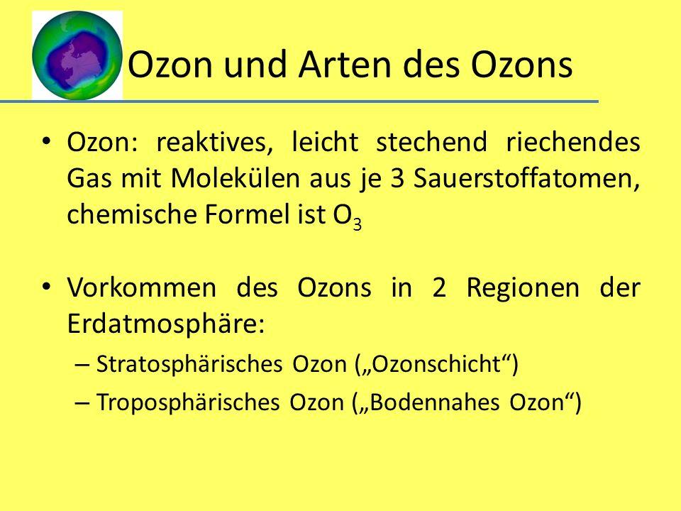 Ozon und Arten des Ozons Ozon: reaktives, leicht stechend riechendes Gas mit Molekülen aus je 3 Sauerstoffatomen, chemische Formel ist O 3 Vorkommen d