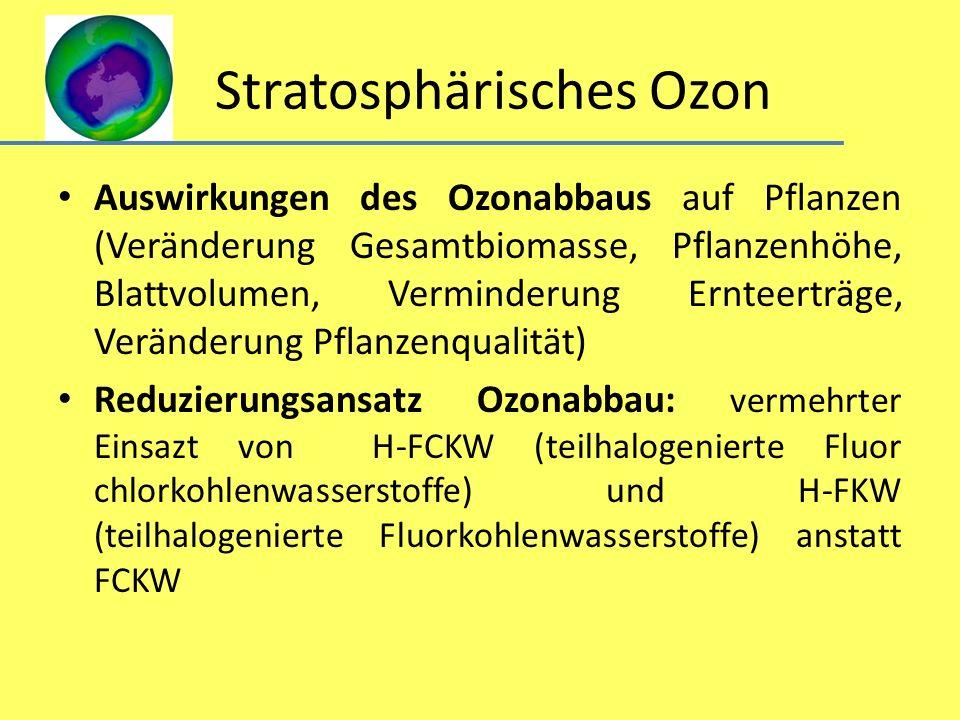 Stratosphärisches Ozon Auswirkungen des Ozonabbaus auf Pflanzen (Veränderung Gesamtbiomasse, Pflanzenhöhe, Blattvolumen, Verminderung Ernteerträge, Ve
