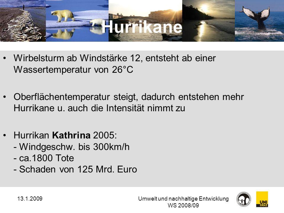 13.1.2009Umwelt und nachhaltige Entwicklung WS 2008/09 Hurrikane Wirbelsturm ab Windstärke 12, entsteht ab einer Wassertemperatur von 26°C Oberflächen