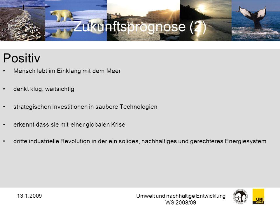 13.1.2009Umwelt und nachhaltige Entwicklung WS 2008/09 Zukunftsprognose (2) Positiv Mensch lebt im Einklang mit dem Meer denkt klug, weitsichtig strat
