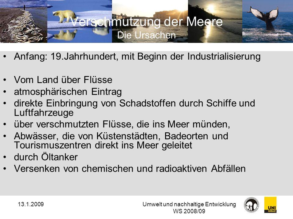 13.1.2009Umwelt und nachhaltige Entwicklung WS 2008/09 Verschmutzung der Meere Die Ursachen Anfang: 19.Jahrhundert, mit Beginn der Industrialisierung