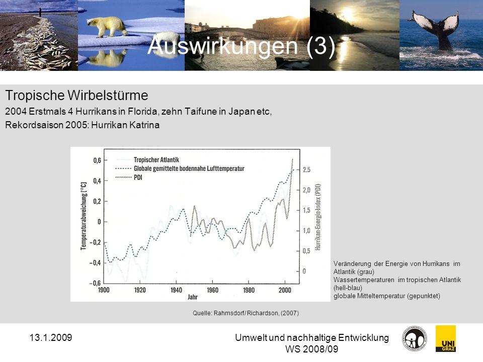 13.1.2009Umwelt und nachhaltige Entwicklung WS 2008/09 Auswirkungen (3) Tropische Wirbelstürme 2004 Erstmals 4 Hurrikans in Florida, zehn Taifune in J