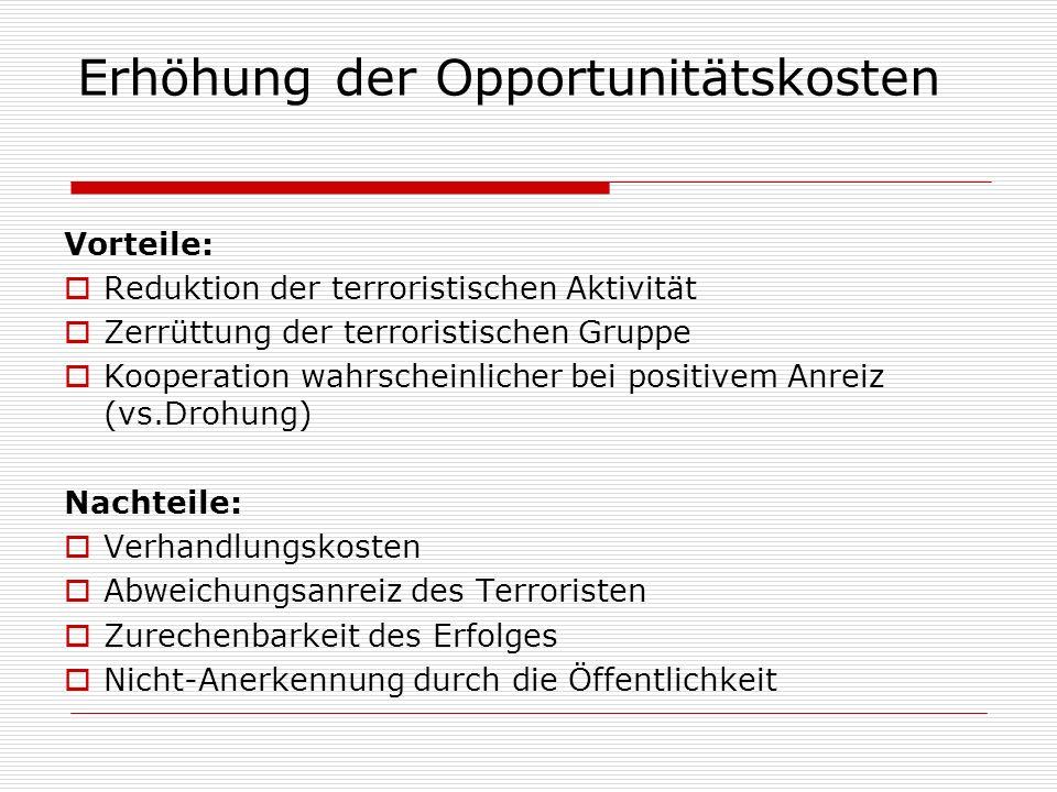 Erhöhung der Opportunitätskosten Vorteile: Reduktion der terroristischen Aktivität Zerrüttung der terroristischen Gruppe Kooperation wahrscheinlicher