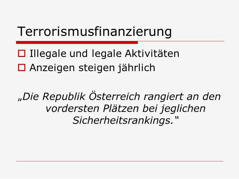 Terrorismusfinanzierung Illegale und legale Aktivitäten Anzeigen steigen jährlich Die Republik Österreich rangiert an den vordersten Plätzen bei jegli