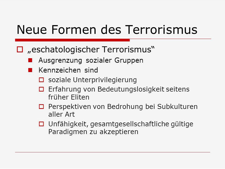 Neue Formen des Terrorismus eschatologischer Terrorismus Ausgrenzung sozialer Gruppen Kennzeichen sind soziale Unterprivilegierung Erfahrung von Bedeu