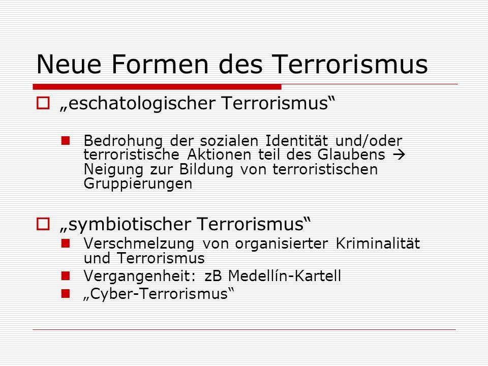 Neue Formen des Terrorismus eschatologischer Terrorismus Bedrohung der sozialen Identität und/oder terroristische Aktionen teil des Glaubens Neigung z