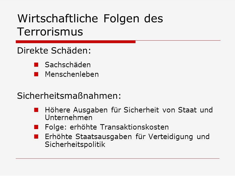 Wirtschaftliche Folgen des Terrorismus Direkte Schäden: Sachschäden Menschenleben Sicherheitsmaßnahmen: Höhere Ausgaben für Sicherheit von Staat und U