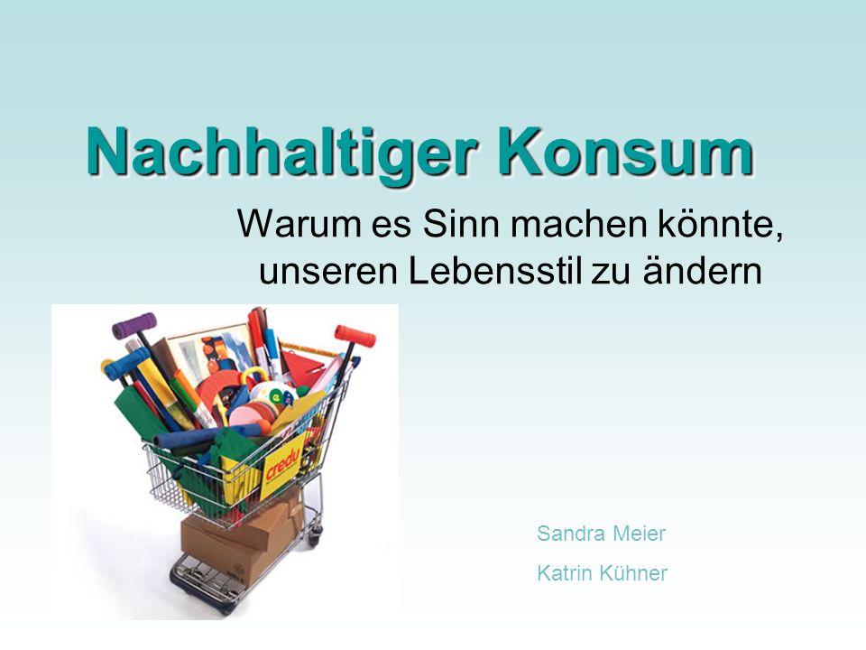 Nachhaltiger Konsum Warum es Sinn machen könnte, unseren Lebensstil zu ändern Sandra Meier Katrin Kühner
