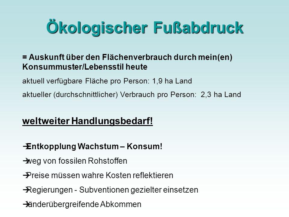 Ökologischer Fußabdruck = Auskunft über den Flächenverbrauch durch mein(en) Konsummuster/Lebensstil heute aktuell verfügbare Fläche pro Person: 1,9 ha