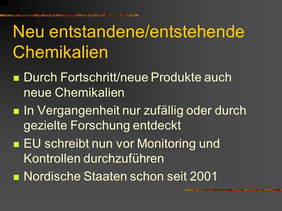 Neu entstandene/entstehende Chemikalien Durch Fortschritt/neue Produkte auch neue Chemikalien In Vergangenheit nur zufällig oder durch gezielte Forsch