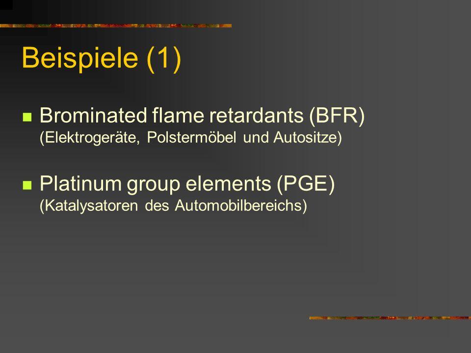 Beispiele (1) Brominated flame retardants (BFR) (Elektrogeräte, Polstermöbel und Autositze) Platinum group elements (PGE) (Katalysatoren des Automobil