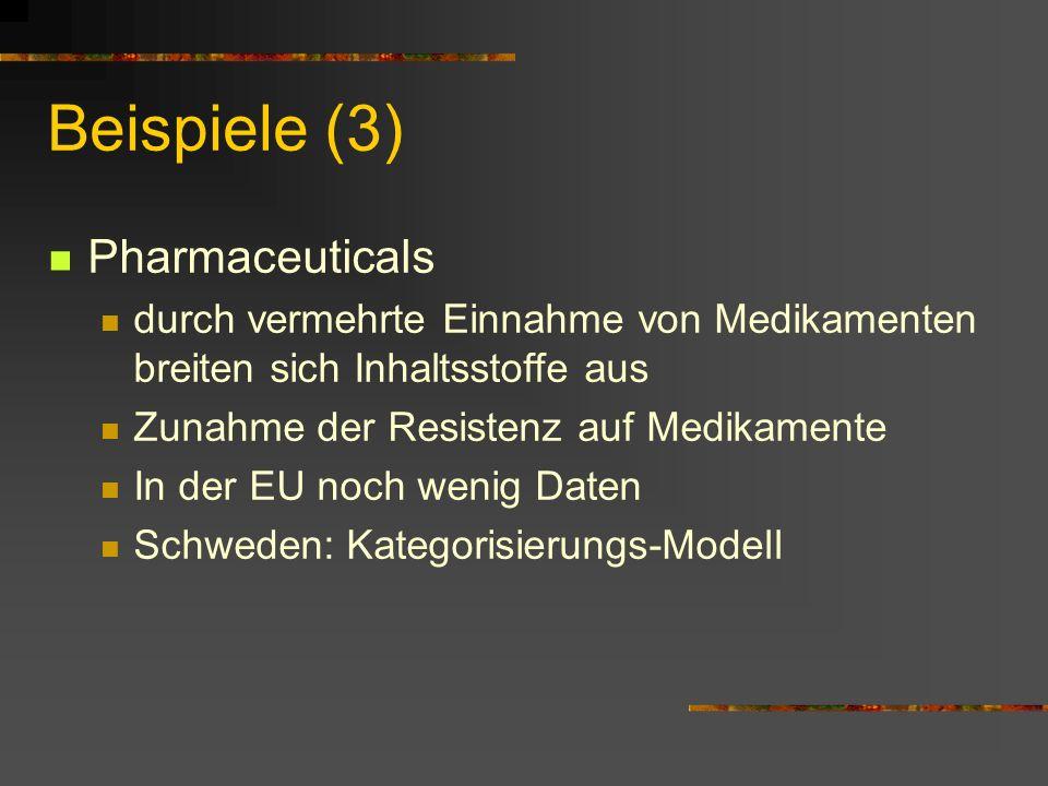 Beispiele (3) Pharmaceuticals durch vermehrte Einnahme von Medikamenten breiten sich Inhaltsstoffe aus Zunahme der Resistenz auf Medikamente In der EU