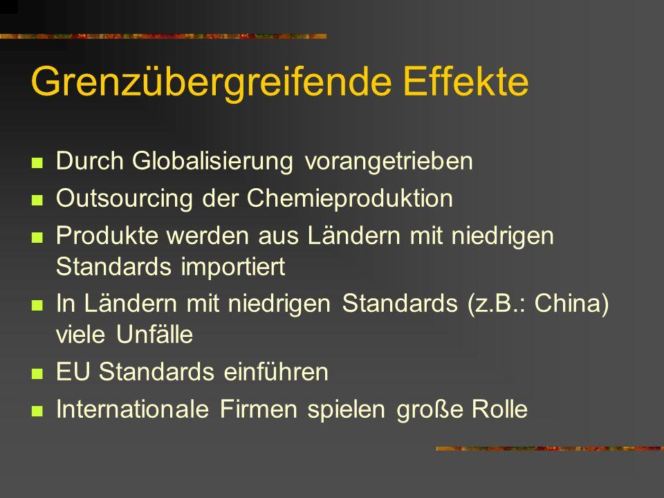 Grenzübergreifende Effekte Durch Globalisierung vorangetrieben Outsourcing der Chemieproduktion Produkte werden aus Ländern mit niedrigen Standards im