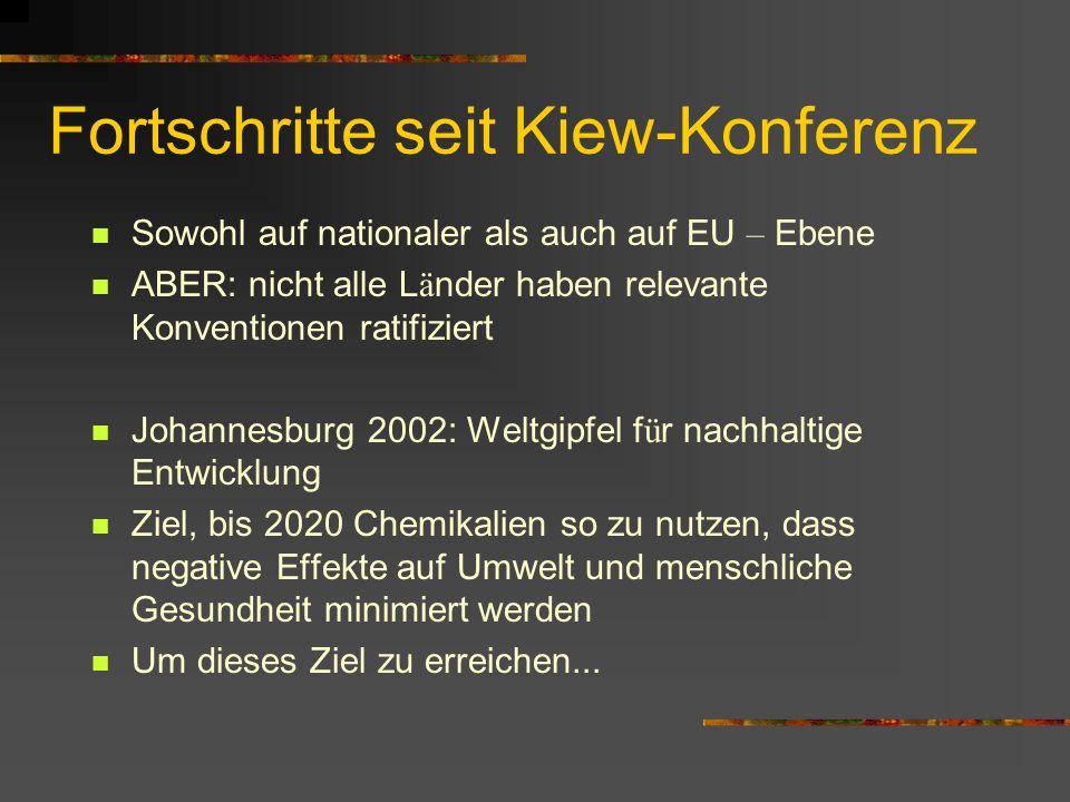 Sowohl auf nationaler als auch auf EU – Ebene ABER: nicht alle L ä nder haben relevante Konventionen ratifiziert Johannesburg 2002: Weltgipfel f ü r n